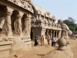 Group of Rock Cut Temples Called the Five Rathas, Mahabalipuram, Tamil Nadu State Photographic Print by Richard Ashworth