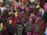 Women from Villages Crowd the Street at the Camel Fair, Pushkar, Rajasthan State, India Photographic Print by Jeremy Bright