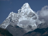 Snow Covered Mountain Peak, Ama Dablam, Himalayas, Nepal Photographic Print by N A Callow