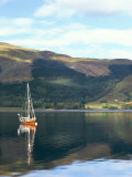 Wooden Yacht on Loch Leven, in Autumn, Glencoe, Highland Region, Scotland, United Kingdom Photographic Print by Pearl Bucknall