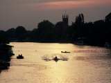Rowers on River Thames with Church Tower Beyond, Hampton, Greater London, England Photographic Print by Charles Bowman