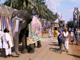 An Elephant Leads Procession of Huge Chariot Outside Sri Ranganathaswami Temple Photographic Print by Richard Ashworth