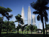 Petronas Twin Towers Seen from Public Park, Kuala Lumpur, Malaysia, Southeast Asia Photographic Print by Charcrit Boonsom