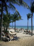 Tourists on the Beach, Playa Del Carmen, Mayan Riviera, Mexico, North America Photographic Print by Nelly Boyd