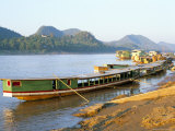 Looking North up the Mekong River, Boats Moored at Luang Prabang, Laos, Indochina Photographic Print by Richard Ashworth
