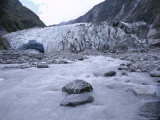 Melt Water and Glacial Rock Terrain at Glacier Terminus, Franz Joseph Glacier, South Island Photographic Print by Jeremy Bright