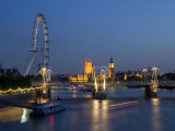 Houses of Parliament and London Eye at Dusk, London, England, United Kingdom Photographic Print by Charles Bowman