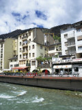 Street Cafes on the Bank of Riu Valira Which Runs Through the Capital City, Andorra Photographic Print by Pearl Bucknall
