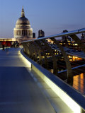 Millennium Bridge and St. Pauls Cathedral, London, England, UK Photographic Print by Charles Bowman