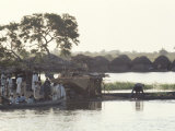 Early Morning River Scene, Northern Area, Nigeria, Africa Fotografisk tryk af David Beatty