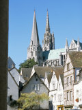 Spires of Notre Dame Cathedral, and Old Town, Chartres, Centre Val De Loire, France Photographic Print by Richard Ashworth