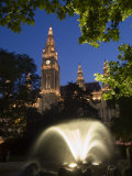City Hall at Dusk with Fountain in Foreground, Vienna, Austria Photographic Print by Charles Bowman