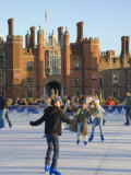 Ice Skating Rink in Winter, Hampton Court, London, England, United Kingdom Photographic Print by Charles Bowman