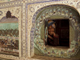 Decorated Window, Sultan Mahal, Samode Palace, Near Jaipur, Rajasthan State, India Photographic Print by David Beatty