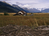 Disused Trapper's Hut and the Grassland, Forest and Glacier of Fort Richardson Park, Alaska, USA Photographic Print by Jeremy Bright
