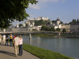 Cityscape with River Salzach and Riverside Walk, Salzburg, Austria Photographic Print by Charles Bowman