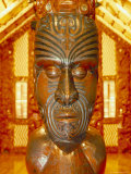 Maori Statue with 'Moko' Facial Tattoo, New Zealand Photographic Print by Jeremy Bright