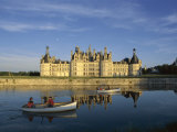 Boats on Water in Front Chateau Chambord, Unesco World Heritage Site, Loir-Et-Cher, Centre, France Photographic Print by Charles Bowman