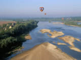Hot Air Ballooning Above the Loire River, Blois Region, Pays De Loire, France Photographic Print by Bruno Barbier