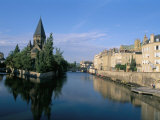 Banks of the Moselle River, Old Town, Metz, Moselle, Lorraine, France Photographic Print by Bruno Barbier