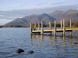 Wooden Jetty at Barrow Bay Landing on Derwent Water Looking North to Skiddaw in Autumn Photographic Print by Pearl Bucknall