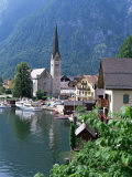 Village and Lake, Hallstatt, Austrian Lakes, Austria Photographic Print by Jean Brooks