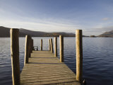 Wooden Jetty at Barrow Bay Landing on Derwent Water Looking North West in Autumn Photographic Print by Pearl Bucknall