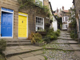 Yellow and Blue Doors on Houses in the Opening, Robin Hood's Bay, England Photographic Print by Pearl Bucknall