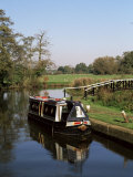 Narrow Boat Moored Waiting to Enter Craft Lock, Sutton Green, Surrey, England Photographic Print by Pearl Bucknall