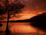 Red Sky at Sunset, Coniston Water, Consiton, Lake District, Cumbria, England, United Kingdom Photographic Print by Pearl Bucknall