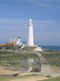 Lighthouse, St. Mary&#39;s Island, Whitley Bay, Northumbria (Northumberland), England Photographic Print by Michael Busselle