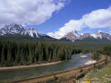 Bow River and Railway at Morant's Curve, Banff National Park, Rocky Mountains Photographic Print by Pearl Bucknall