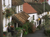 The Rising Sun Hotel and Thatched Buildings, Lynmouth, Devon, England, United Kingdom Photographic Print by Pearl Bucknall