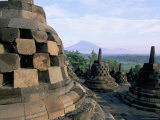 Arupadhatu View, 8th Century Buddhist Site of Borobudur, Unesco World Heritage Site, Indonesia Photographic Print by Bruno Barbier