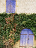 Blue Shutters on a House, Rhone Alpes, France Photographic Print by Michael Busselle