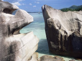 Rocks on Coast, Pointe Rouge, Anse Papaie, South Coast, Island of Curieuse, Seychelles Photographic Print by Bruno Barbier