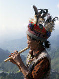 Ifugao Person Playing a Pipe, Northern Area, Island of Luzon, Philippines, Southeast Asia Photographic Print by Bruno Barbier
