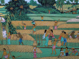 Painting of People Harvesting in Rice Fields, Neka Museum, Ubud, Island of Bali, Indonesia Photographic Print by Bruno Barbier
