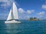 Catamaran, Island of Praslin, Seychelles, Indian Ocean, Africa Fotografisk tryk af Bruno Barbier