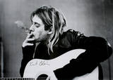 Kurt Cobain (Smoking) With Guitar Black & White Music Poster Print