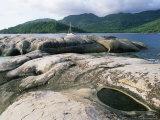 Rocks on Coast, Ile Therese (Therese Island), Northwest Coast, Island of Mahe, Seychelles Photographic Print by Bruno Barbier