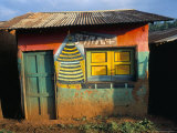 Decorated Building in the Village of Goulisoo, Oromo Area, Welega State, Ethiopia, Africa Photographic Print by Bruno Barbier