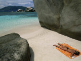 Woman Sunbathing on Beach Beween Rocks, Coco Island, Praslin, Seychelles, Indian Ocean, Africa Photographic Print by Bruno Barbier