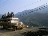 Truck Carrying Passengers on the Roof, Banaue, Island of Luzon, Philippines, Southeast Asia Photographic Print by Bruno Barbier