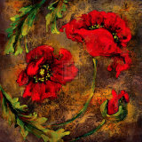 Flowers and Leaves V Print by  Georgie