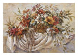 Still Life of Flowers in a Basket Print by Joaquin Moragues