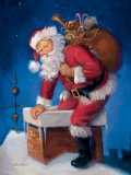 Santa in Chimney Prints by Susan Comish