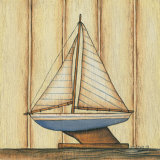 Pinstripe Sailboat Art by Kim Lewis