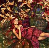 La Sieste Sous les Fleurs Prints by Delphine Cossais