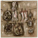 Etandages et Chaussettes Poster by Myriam Berthoud
